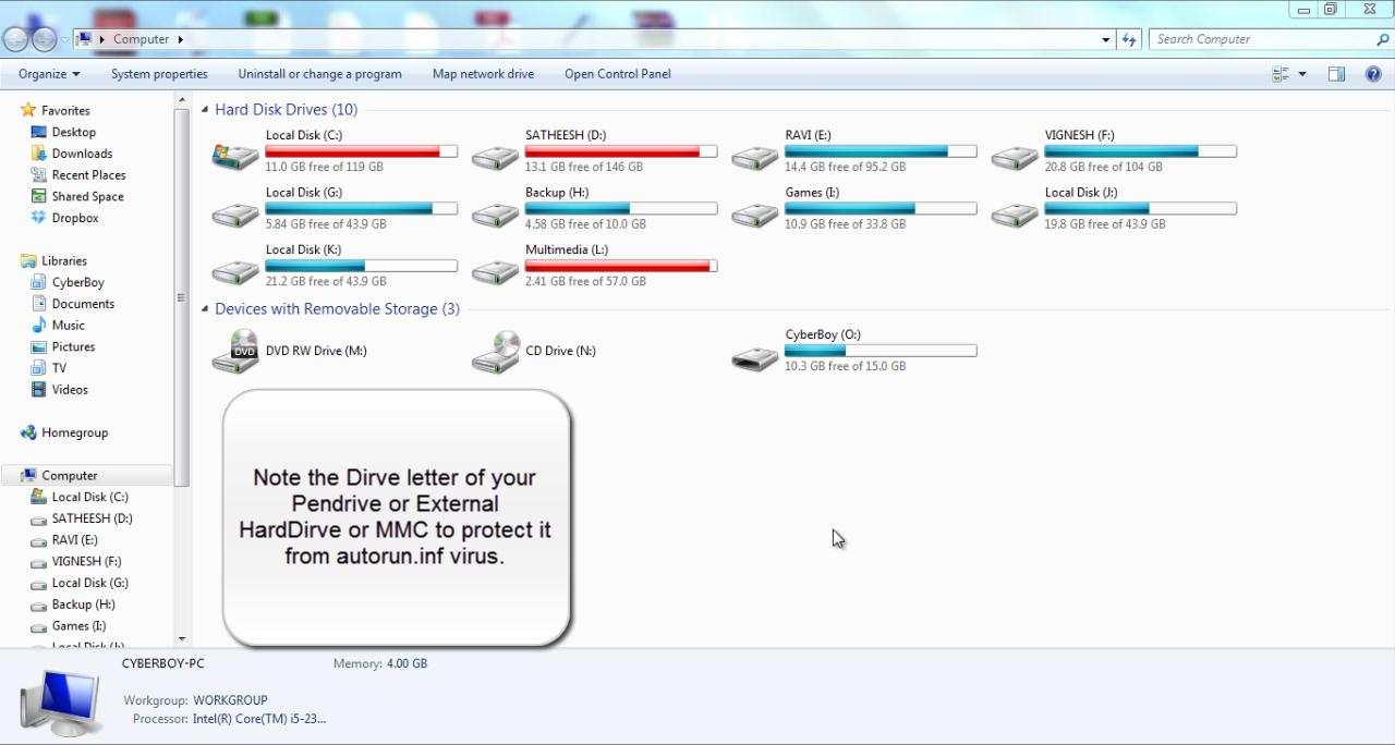 How to protect/prevent your Pendrive or Memory card form autorun.inf virus?