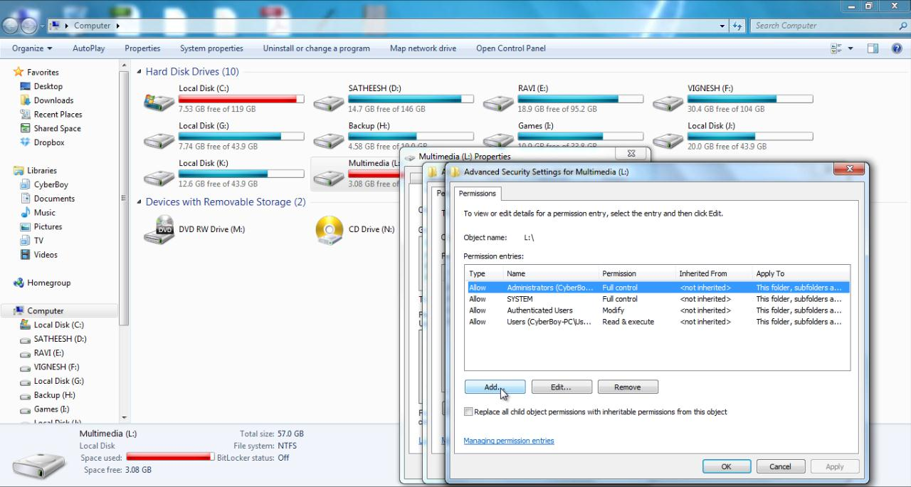 How to protect or restrict access to particular drive or folder for particular windows user?
